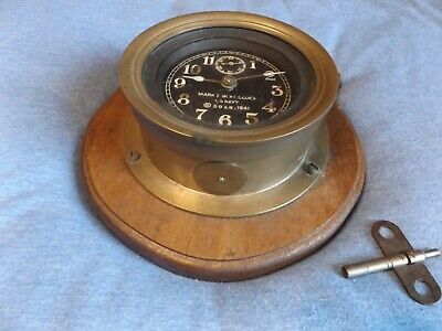 Vintage Mark-1 U.s.navy 1941 Brass Boat Clock  Military Seth Thomas Ship Clock