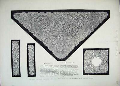Old Antique Print 1883 Irish Lace Shawl Princess Wales Egyptian Mansion 19th