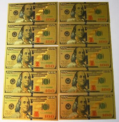 10 (Ten) 24K Gold Plated $100 Dollar Bill's New Style Certificate's! Free Ship!