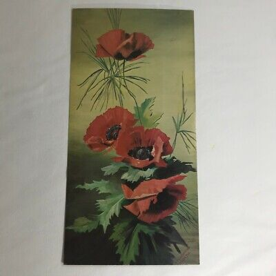 art print~LOLITA~Mary Golay tall lady woman red Poppies vtg repro yardlong 16x37