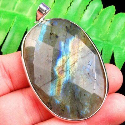 55x35x7mm Wrapped Faceted Natural Labradorite Oval Pendant Bead B71516