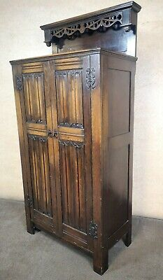 Carved Oak Linen Fold Hall Wardrobe Circa 1920