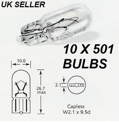 501 CAPLESS BULBS FOR INTERIOR SIDE LIGHT NUMBER PLATE PUSH IN 12V 5W QTY 10