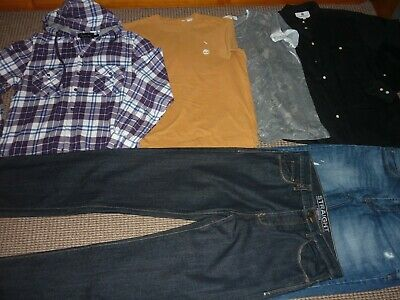 "Bundle Boys Clothes age 15-16yrs 32"" Waist  32"" Leg Jeans & Med Tops Timberland"