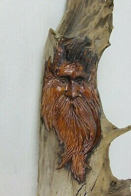 Large Vintage Driftwood Old Man Spirit Carving Wall Sculpture 31.5 Tall by BW