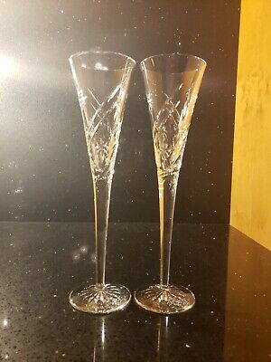 Brilliant Waterford Ireland Wishes Collection Toasting Flutes Pr Fluted Glasses