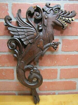 Old Winged Griffin Monster Beast Wood Carved Architectural Salvage Part