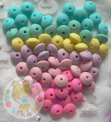 **UK SELLER** 25 PC  X   12mm Lentil Silicone Teether Beads