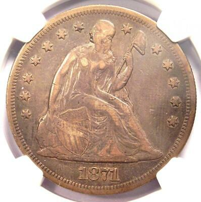 1871 Seated Liberty Silver Dollar $1 - NGC VF Details - Rare Certified Coin!