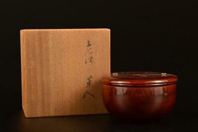E2375: Japanese Wooden Lacquer ware TEA CADDY Natsume Chaire Container w/box