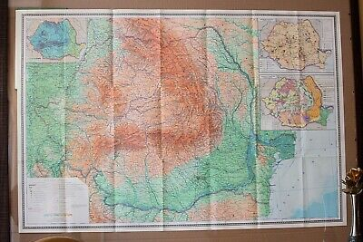 Vintage Original Folding Paper Map of Romania Large Old Geography School Map