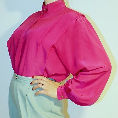 Vintage Puff Sleeves Pleated Blouse Size 12 M Vibrant Pink SK & COMPANY