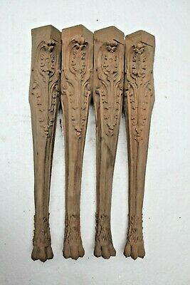 4 X Rare Hand Carved Gothic French Chateau Style Legs Wood Carvings