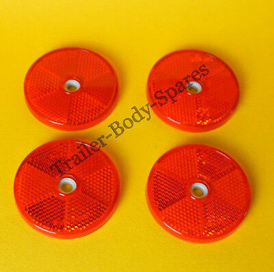 4 x 80mm XL Red Hi-Intensity Reflectors for gateposts trailers horseboxes