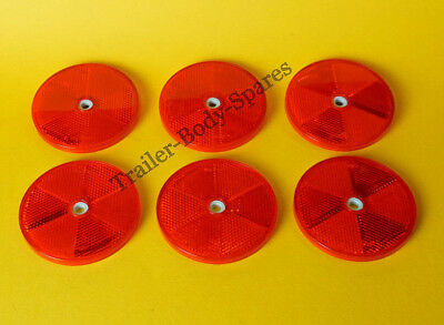 6 x 80mm XL Red Hi-Intensity Reflectors for gateposts trailers horseboxes
