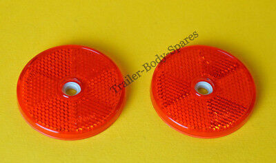 2 x 80mm XL Red Hi-Intensity Reflectors for gateposts trailers horseboxes