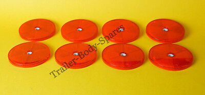 8 x 80mm XL Red Hi-Intensity Reflectors for gateposts trailers horseboxes