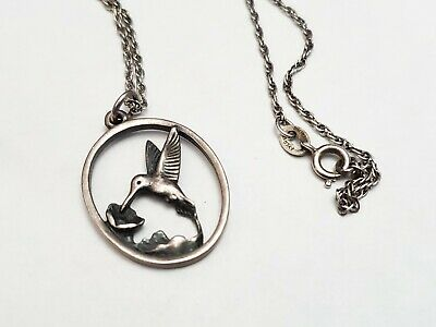 "James Avery Retired Sterling Silver Hummingbird Oval Pendant With 29.5"" Chain"