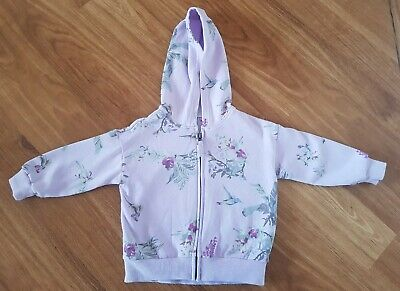 NEXT~Girl's Lilac Purple Floral Patterned Zip-Up Hoodie/Jacket/Sweatshirt 2/3 Y