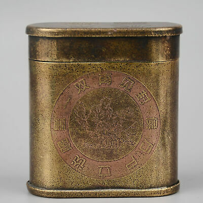 Collect China Old Bronze Hand-Carved Fairchild Moral Bring Luck Cigarette Case