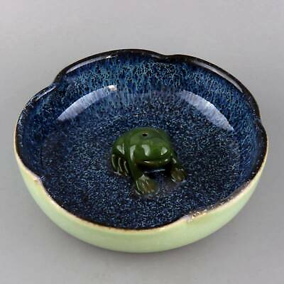 Collect Old Porcelain Glaze Carve Lovely Frog Statue Auspicious Delicate Plate