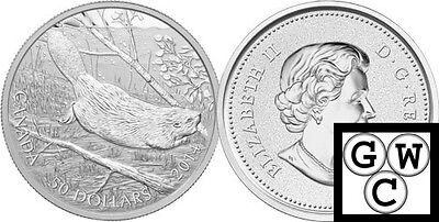 2014  5oz. Proof $50 'Swimming Beaver' .9999 Fine Silver Coin (NT) (13336)