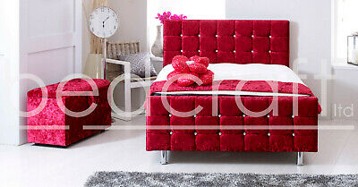 AZTEC CRYSTAL CUBE PLUSH VELVET BEDFRAME | Diamond Upholstery, Grey Silver Cream