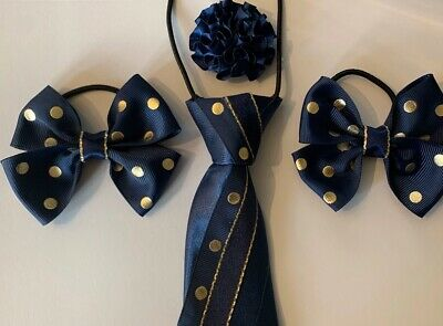 equestrian showing set Navy And White Spotty Tie Scrunchie /& Buttonhole