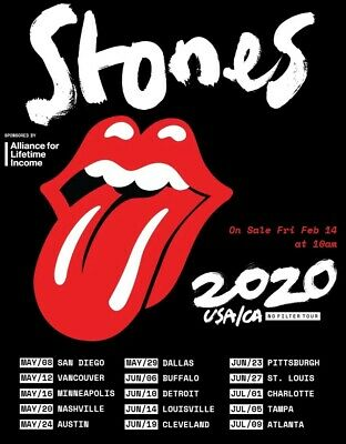 2 ROLLING STONES Cotton Bowl Dallas  Section A Row 20 Aisle Seats May 29, 2020