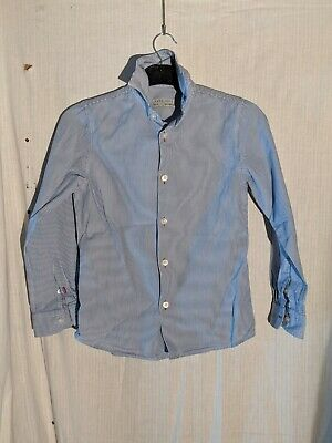 Zara Boys Blue and White Striped Long Sleeved Shirt Age 7-8