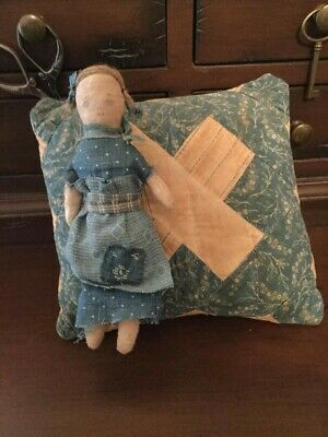Early Primitive Handmade Cloth Rag Doll And Quilt Pillow - Fat Hen Farm