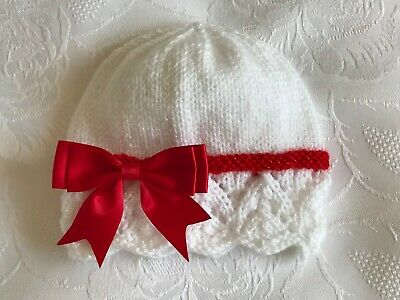 NEW Hand Knitted Baby Girls White/Red Sparkle Wool Hat With  Bow 0 - 3 Months