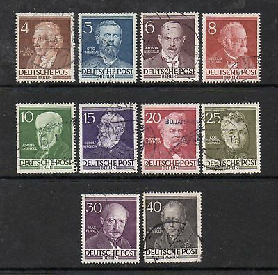 Germany Berlin 1952 - Famous Berliners Set Used Sg B91-100 - High Cat £70
