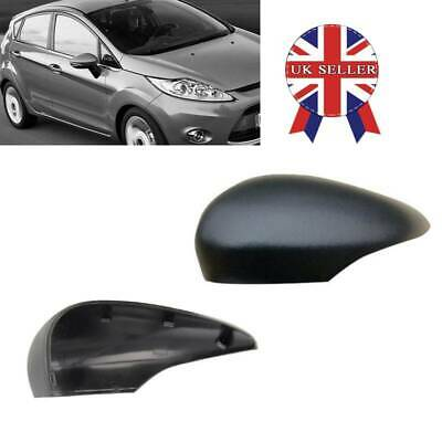 Pair Gloss Black Wing Mirror Cover Cap Painted For Ford Fiesta MK7 2008-17 UK