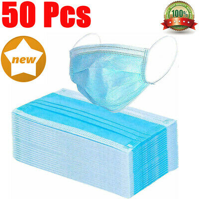 50PCS Disposable Face Masks Breathable Dust Filter Mouth Cover with Ear Loop