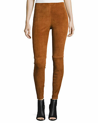 Theory Navalane russet brown suede stretchy pants leggings New size 0 $995