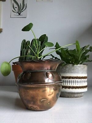 Copper Vintage Arts & Crafts Art Nouveau Planter Pot Jardiniere Succulent Cactus