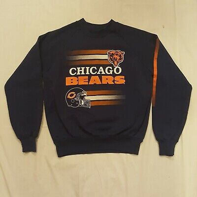Vintage 80s Chicago Bears Kids L 14-16 Sweatshirt Blue Long Sleeve NFL USA Garan