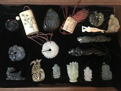 antique & vintage Chinese pendants,inro,amulets and statue 16 PIECE LOT someJADE