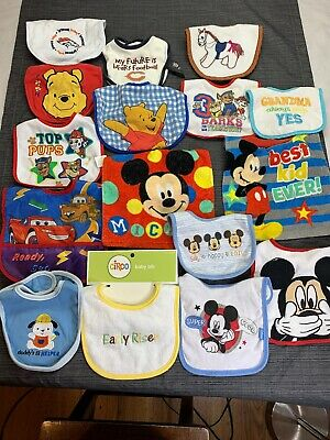 HUGE LOT Of 16 VARIETY Baby Boy Toddler BIBS