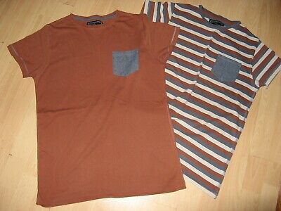 Worn Once 2 Boys Next Brown 100% Cotton Short Sleeve T-Shirt Bundle Age 14-15