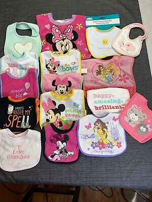 Huge Lot Of 16 VARIETY Baby /Toddler Girl Bibs Feeding