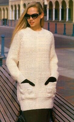 Ladies Knitting Patterns 12 Ply Copy Long Line Sweater with pockets