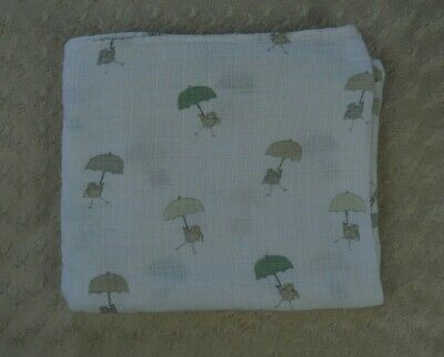 Aden + Anais Bird Holding Umbrella Baby Blanket Green Gray Muslin Cotton Swaddle