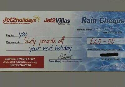 30× NEW Jet2Holidays £60Rain Cheque voucher MOST UP TO DATE CODES