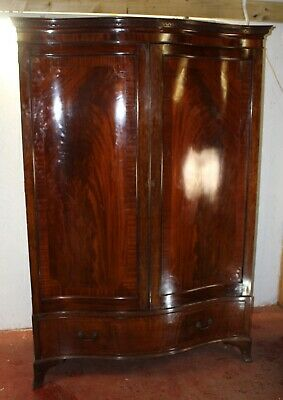 1910s Quality Mahogany Serpentine Front 2 Door Wardrobe