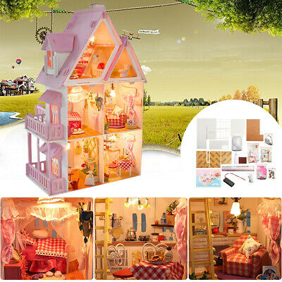 Handcraft DIY Gift Dolls House Kit Wooden Miniature with Furniture LED Lights