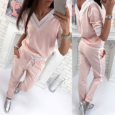 2PCS Women Tracksuit V Neck Sweatshirt Tops Jogger Pants Set Casual Sports Suits