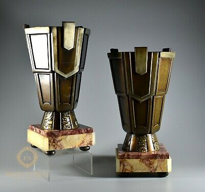 Stylish Pair Of French Art Deco Bronze And Marble Garniture Vases