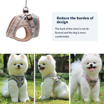 Puppy Small Dog Cat Harness and Walking Leads Set Pet Breathable Reflective Vest